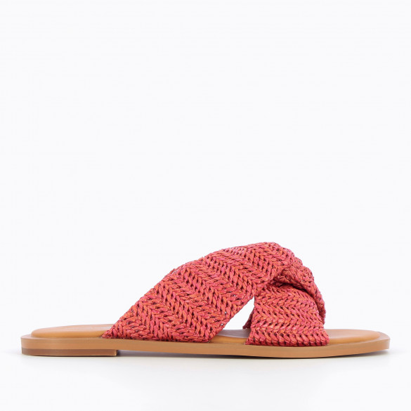 Flat grenadine red mules with camel sole and straps raffia effect tied woman Vanessa Wu