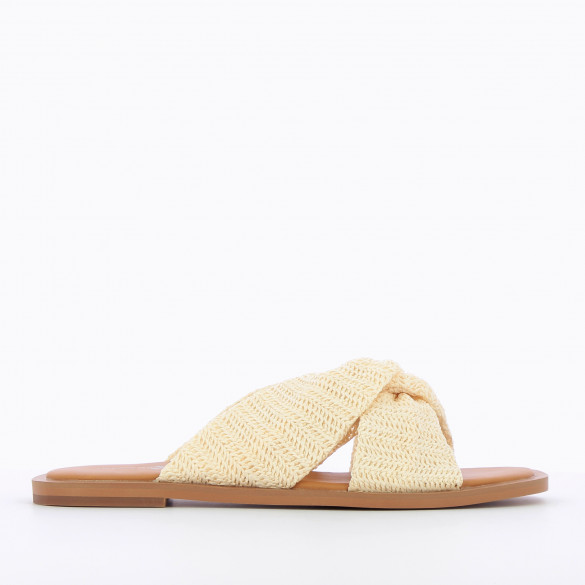 Flat mules with tied straps ivory raffia effect and camel sole woman Vanessa Wu