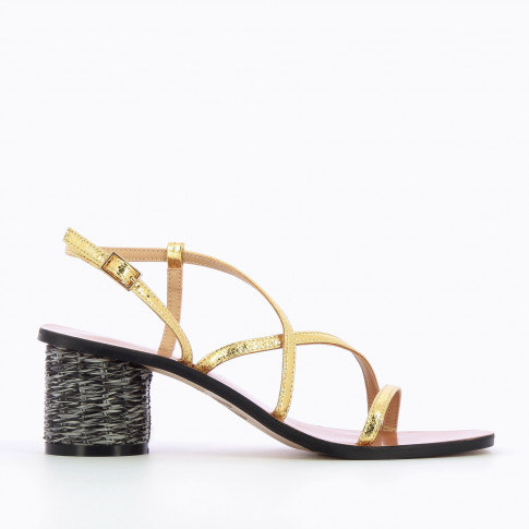 Gold mules with raffia heel