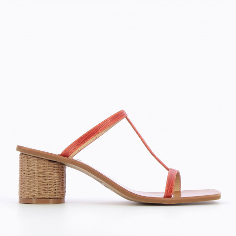 Brick red salomé mules with raffia heel