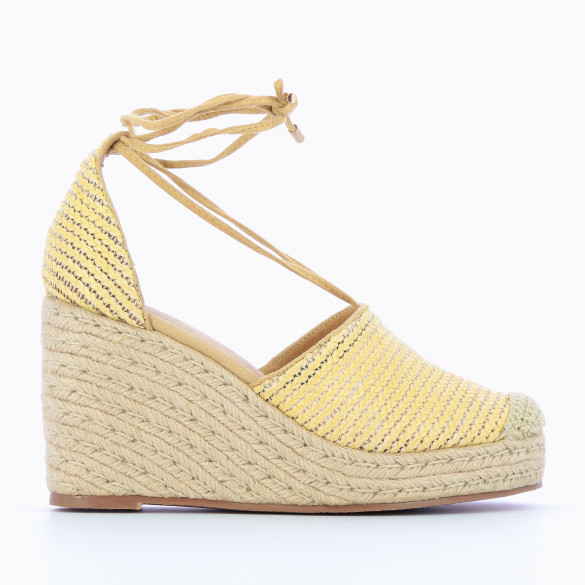Yellow wedges raffia effect woven reinforced toe beige with straps and rope heel woman Vanessa Wu