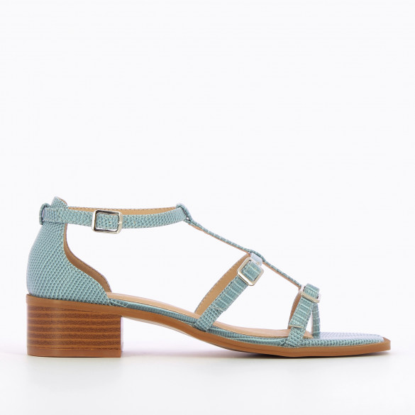 Pastel blue sandals with fine straps in faux leather snakeskin effect woman Vanessa Wu and small heel