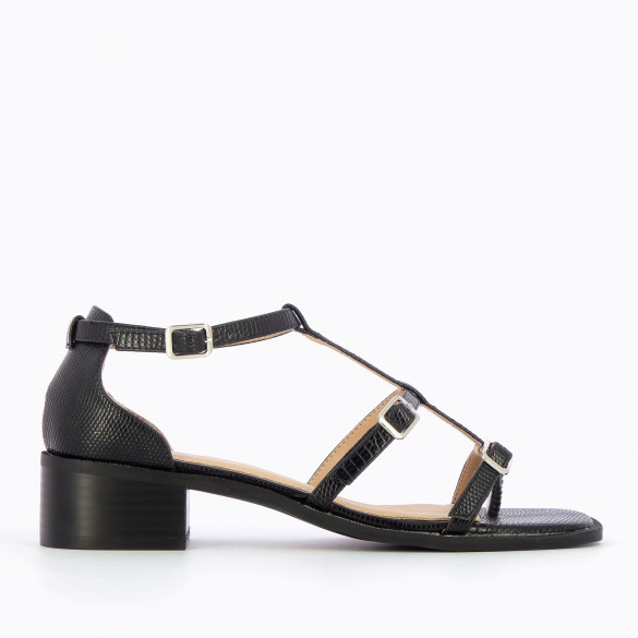 Black sandals with fine straps snakeskin effect small heel wood effect woman Vanessa Wu