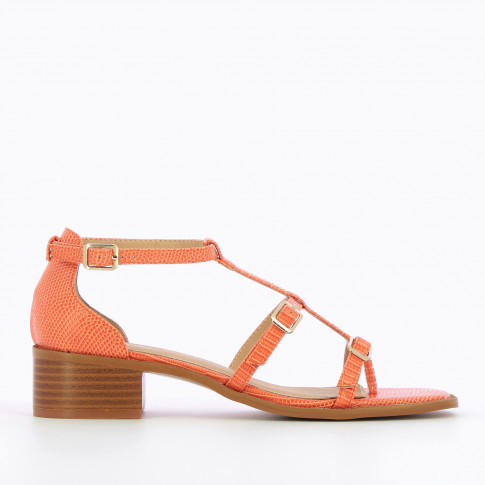 Coral sandals with adjustable straps