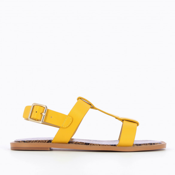 Flat yellow sandals with thick straps and contrasting sole camel snakeskin print woman Vanessa Wu