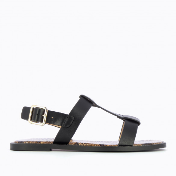 Flat black sandals with thick straps woman Vanessa Wu contrasting sole snakeskin print camel