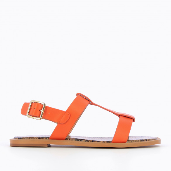 Flat orange sandals woman Vanessa Wu with thick straps and camel interior sole snakeskin effect