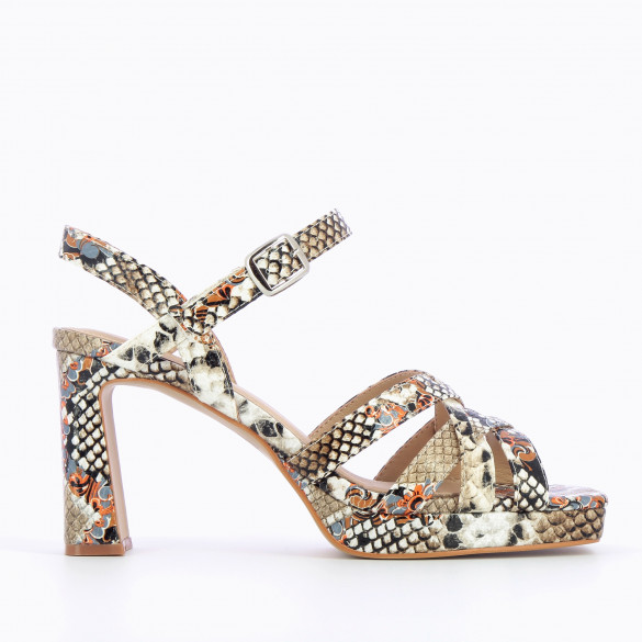 Beige sandals with heel and platform snakeskin print and crossed straps woman Vanessa Wu