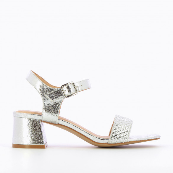 Textured silver sandals woman with block heel and woven strap Vanessa Wu