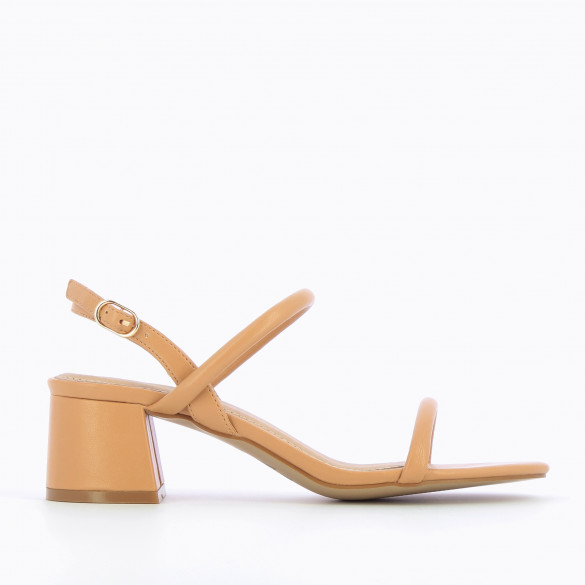 Camel sandals minimalist woman Vanessa Wu with block heel and rounded straps