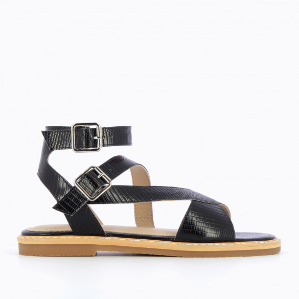 flat black sandals snakeskin effect with high crossed straps and thick sole woman Vanessa Wu