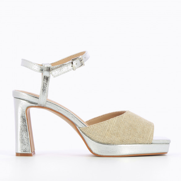 Silver sandals with heel and platform textured effect with strap tweed effect woman Vanessa Wu