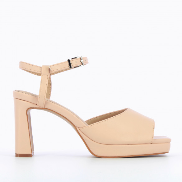 Light pink sandals faux leather nude with heel and platform square toe woman Vanessa Wu
