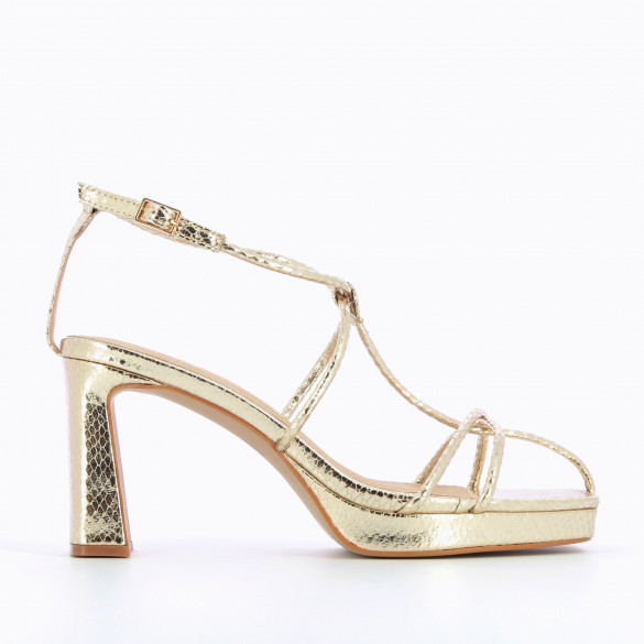 Gold sandals snakeskin effect nineties with platform and fine crossed straps woman Vanessa Wu square toe