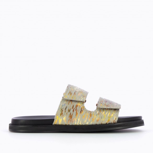 Flat gray mules in downy material speckled gold abstract casual with black sole woman Vanessa Wu