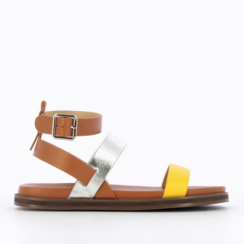 Camel flat sandals with silver and yellow straps
