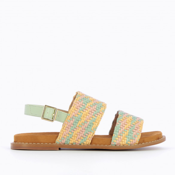 Flat sandals with multicolored woven straps pastel green yellow and pink woman Vanessa Wu thick sole