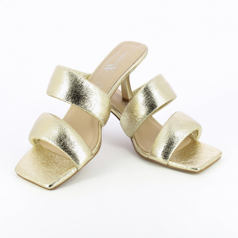 Gold mules with padded straps