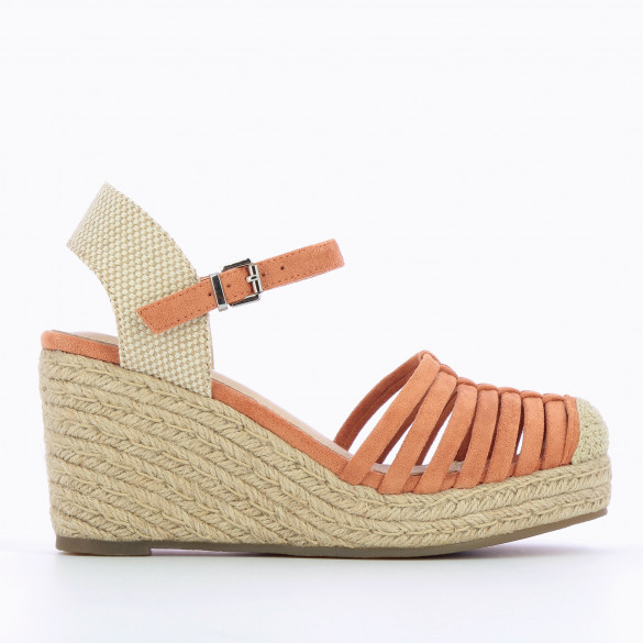 brick red wedges woman Vanessa Wu openwork with heel in braided rope beige and ankle strap