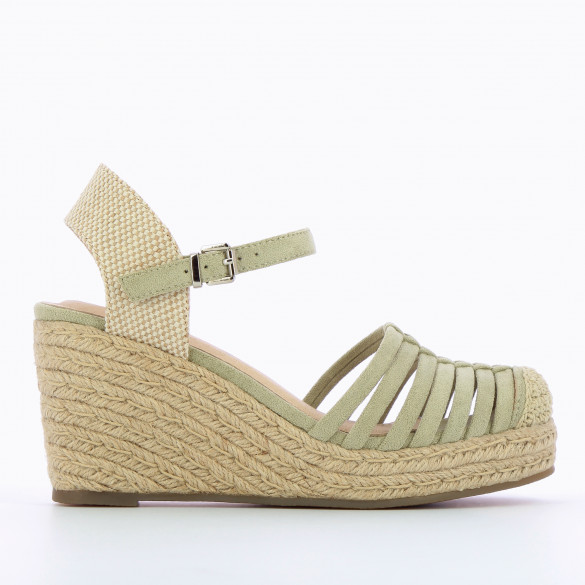 wedges pastel green woman Vanessa Wu openwork with braided rope heel beige and ankle strap