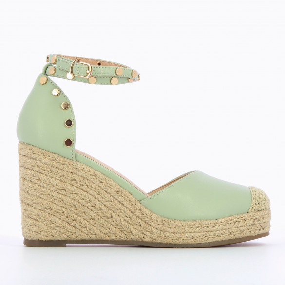 pastel green wedges woman Vanessa Wu with ankle strap and round gold studs beige rope heel woman Vanessa Wu
