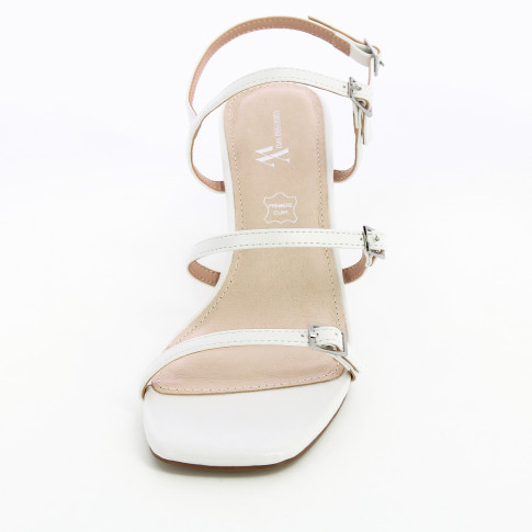 White sandals with ball heel