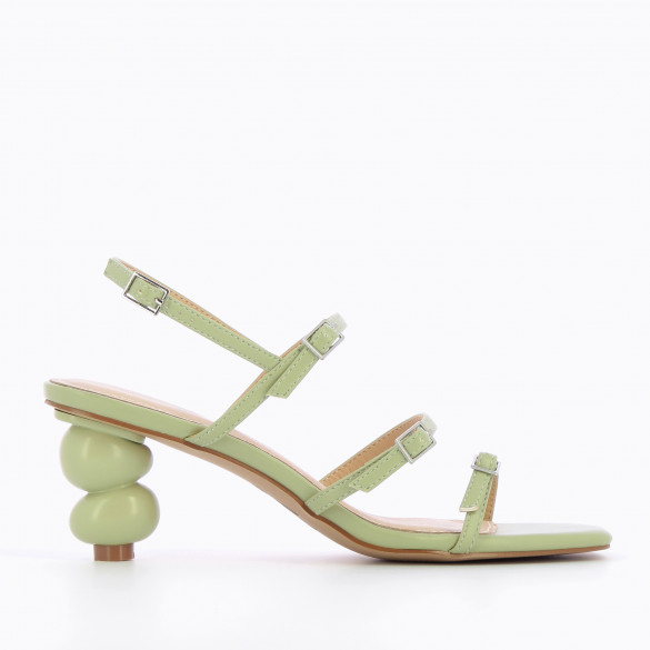 pastel green sandals with fine straps minimalist with sculpted ball heel woman Vanessa Wu square toe
