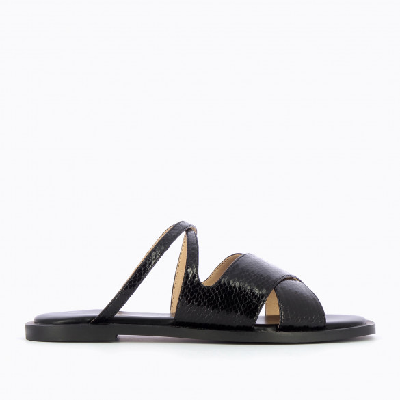 black mules snakeskin effect flat crossed straps padded sole woman Vanessa Wu