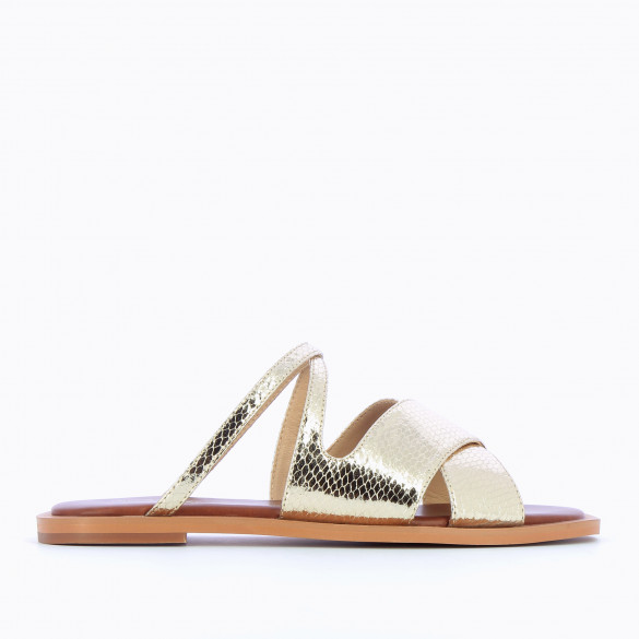 gold mules flat snakeskin effect with crossed straps and padded sole camel woman Vanessa Wu
