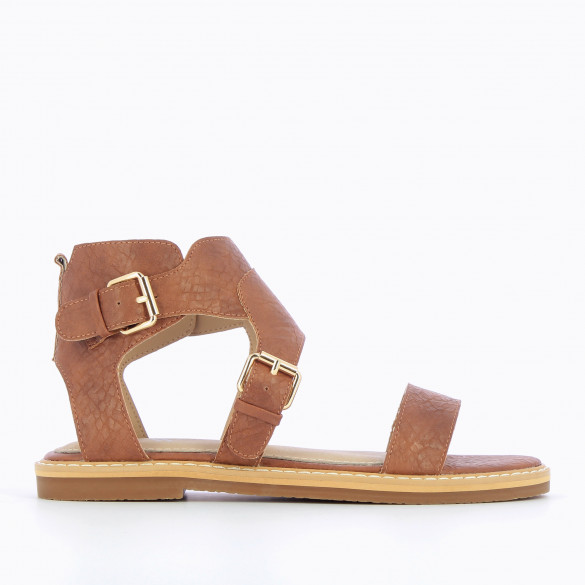 brown flat sandals with high straps faux leather textured woman Vanessa Wu padded sole