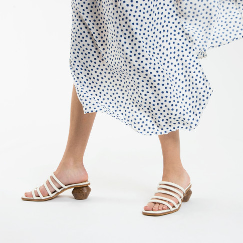White mules with ball heel