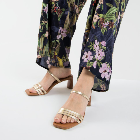 Camel mules with gold straps