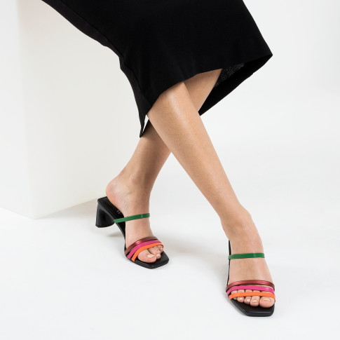 Black mules with multicolored straps