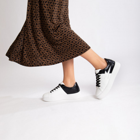 White and black bimaterial lightning sneakers