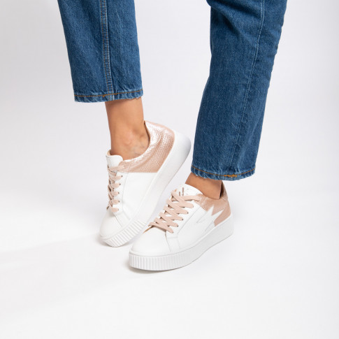 White and rose gold bimaterial lightning sneakers