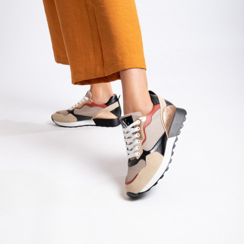 Beige and black track sole sneakers