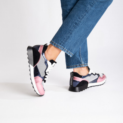 Black and pink track sole sneakers
