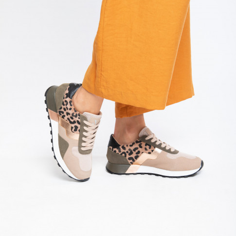 Beige and khaki green sneakers with graphic shapes