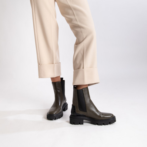 Khaki green Chelsea ankle boots with croco effect heel notch