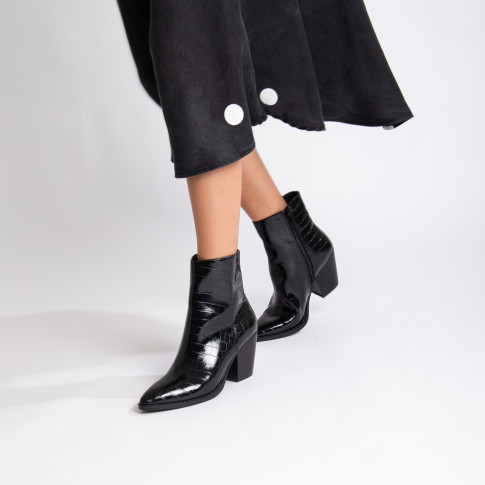 Black croco effect ankle boots with heel